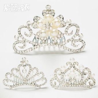 Harga Children's hair accessories flower crystal hair comb hairpin hair hoop girl princess small rhinestone crown girls bangs comb