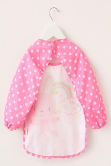 Harga Cute Cartoon Baby Waterproof Long Sleeve Feeding Bib Apron (Pink)