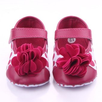 Eozy big flower Style Baby Newborn Toddler Infant Sandals Toddler First Walkers Newborn Baby Girls Kids Prewalker Shoes (Red)