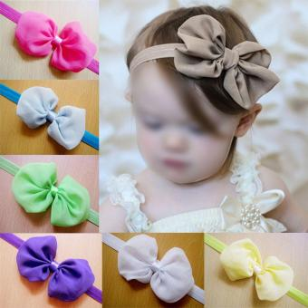 12pcs Kid Baby Girl Toddler Cute Chiffon Bowknot Headband HairBand Headwear