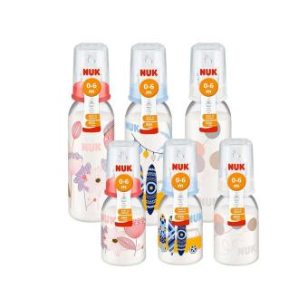 NUK 3pcs PP Standard Bottle 240ml and 3pcs PP Standard Bottle 110ml (0-6m Silicone Teat)