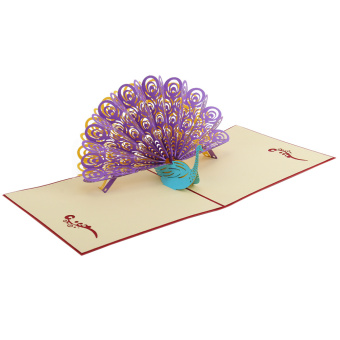 Harga 3D Pop Up Peacock Greeting Cards Gift Birthday Wedding Invitation Celebrations - intl
