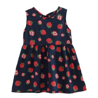 Harga New Summer Dresses Kids Girls Strawberry Print Sundress Outfit - intl