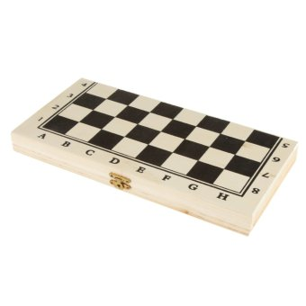 Harga BolehDeals Folding Portable Hand Crafted Wooden International Chess and Draughts Set (EXPORT)