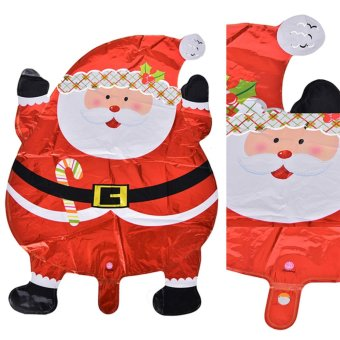 Harga 2pcs Christmas Santa Claus Kids Foil Helium Balloon Decoration Wedding Toy 40*35cm - intl