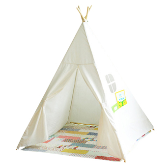 Kids Play Tent Four Poles Children Teepees Cotton Canvas Playhouse for Baby Room White