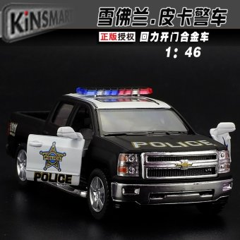 Harga 4 free postage zhiguan 1:46 chevrolet pickup police car alloy car model pull back car toys for children