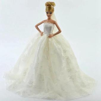 Harga White Gorgeous Bridal Gown with Veil for Barbie Doll Dress Decorated for Girls Gift - intl
