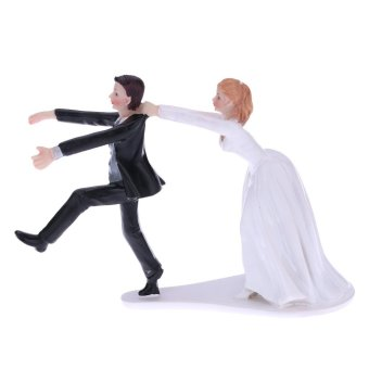 Harga Cute and Funny Synthetic Resin Bride & Groom Wedding Cake Topper