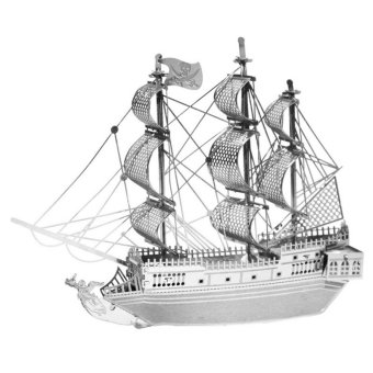 Harga HengSong Pirate Ship 3D Model Micro Sculpture Puzzle DIY Building Model Adult Children Toys Silver