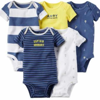 Harga CABY072 Carter's 5-Pack Short-Sleeve Bodysuits - Captain Adorable Size 18M