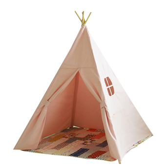 Kids Play Tent Four Poles Children Teepees Cotton Canvas Playhouse for Baby Room Pink