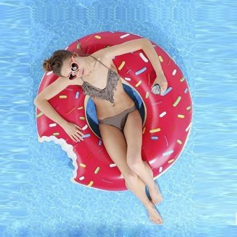 Harga 120cm Donut Swim Ring Inflatable Strawberry Floats summer toy - intl