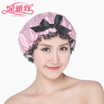 Harga Luxury elegant Korean-style double toothbrush wash artifact shower cap female adult hot oil dust bath cap waterproof cap
