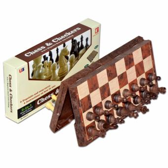 Harga UB 2 in1 international Chess and Checkers Magnetic Wood Folding Board Chess Game - intl