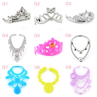 Harga 10 PCS Girl Dolls Toys Crown Headwear Headdress Necklace Doll Jewellery Accessories for Children Girls Birthday Gift Random Style