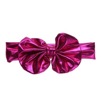 Baby Girls Metallic Bowknot Hairband Hot Stamping Stretchable Headband - intl