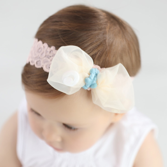 Harga 2017 japan and south korea baby girl princess bow gauze girls headwear hair band children hair accessories korean jewelry