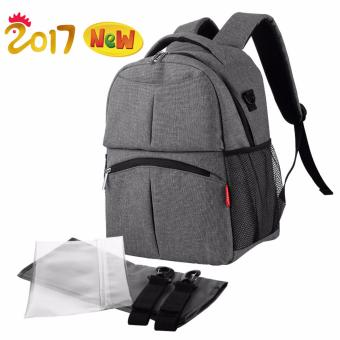 Harga Insular 2017 New Baby Diaper Backpack Waterproof Mommy Bag (Grey)