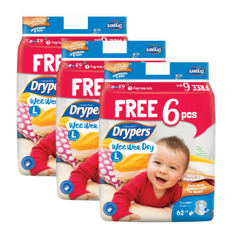 Harga Drypers Wee Wee Dry L 62s x 3 packs (9 - 14kg) 186 pcs/box With Free 6 Pieces In Pack !