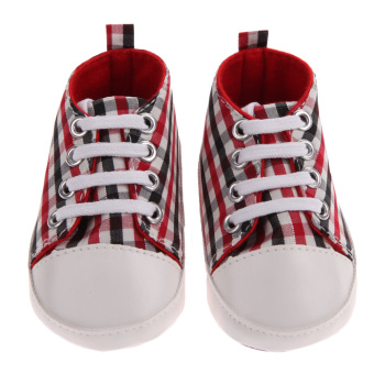 Harga Newborn Baby First Walkers Sports Shoes(Red Black Square)