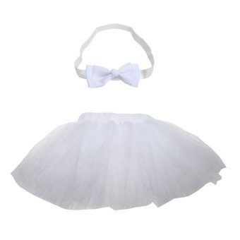 Baby Girls Princess Bubble Skirt Bowknot Headband Photography Prop - intl