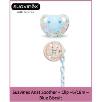 Suavinex Anat Soother + Clip +6/18m - Blue Biscuit