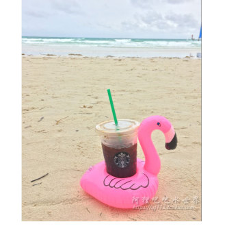 Pink flamingo floating cup holder water inflatable coke sets donuts drink cup holder camera swimming toys