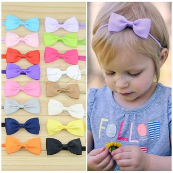 10Pcs Infant Baby Girl Cute Bow Headband Newborn Hair Band Headdress Headwear - intl