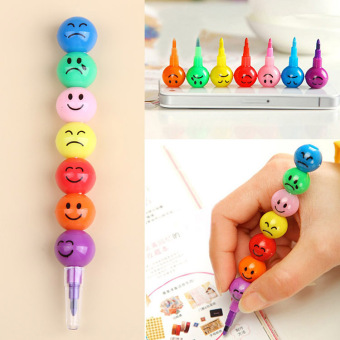 Harga 1pcs New 7 Color Cute Stacker Swap Smile Face Crayons Children Drawing Pen