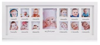 Harga My First Year Baby Photo Frame, Baby Keepsake Frame, Wood Kids Picture Frame, 12 Photo Moments Frame (White) - intl