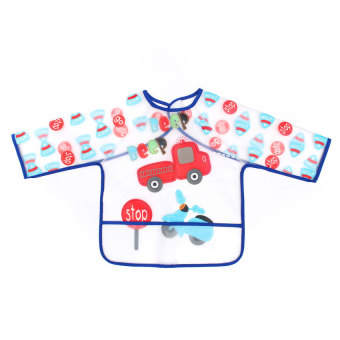 Harga HKS Cute BabyToddler Kid Long Sleeve Coverall Easy Wipe Bib Waterproof Apron Pocket(Export)