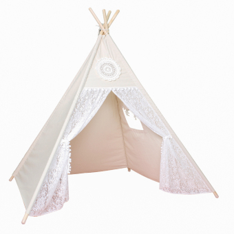 Cotton & Lace Children Play Tent Four Poles Teepee For Girls - intl