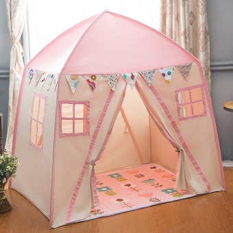 Kids Playhouse Cotton Canvas Toddler Play Tent 2 Doors Teepee Tent Pink