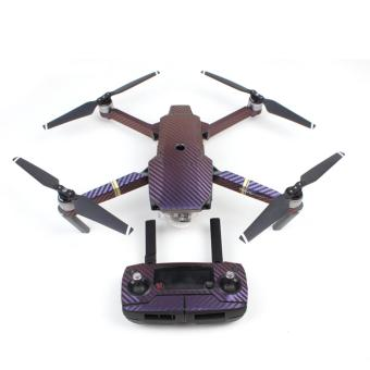 Harga Waterproof Carbon Fiber Stickers RC Aircraft Skin Decals Wrap for DJI Mavic Pro Drone,Purple - intl