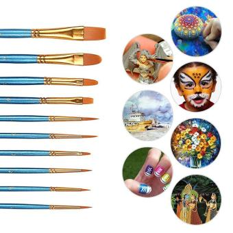 leegoal 10pcs Art Paint Brush Set For Watercolor, Nail,Face Painting,Acrylic Paint / Craft,Blue - intl