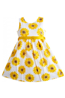 Harga SuperCart Baby Girl Flower Print A-Line Dress (Yellow)
