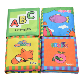 Harga 1Set Fabric Books Learning&Education Baby Toys Educational Cloth Cartoon Book