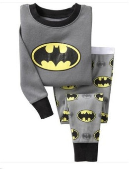 Harga Children Sleepwear Top+Pant Set Boys Girls Batman Cartoon Pajamas Suit Gray