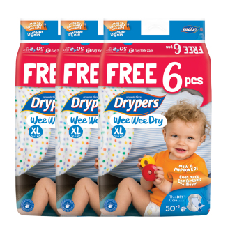 Harga Drypers Wee Wee Dry XL 50s x 3 packs (12 - 17kg) 150 pcs/box With Free 6 Pieces In Pack !