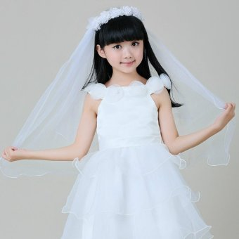 Harga Children headdress hair accessories hair bands crown white pink veil flower girl veil dress girls small medium large boy