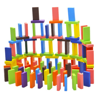 Harga YBC 120pcs Colorful Wooden Domino Authentic Standard Children Toys