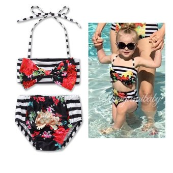 Harga Baby Swimsuit Girl Summer Swimwear Flower Kids Split Swimwear Swimsuit Set Bikini Girls Beach Wear Swimming Suit For Girls Gifts - intl