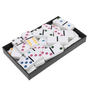 Harga BolehDeals Double Six Dominoes Set of 28 Vintage Domino Travel Game Toy White Colorful - intl