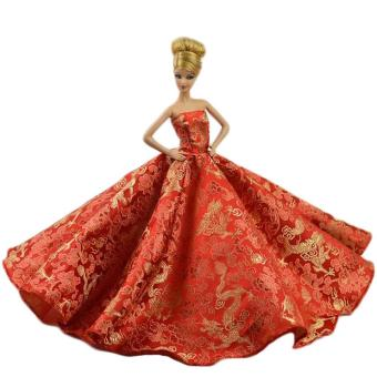 Harga Chinese Style Gorgeous Wedding Dress Party Gown for Barbie Doll Red - intl
