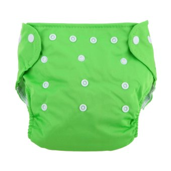 Harga Baby Soft Washable Adjustable Grid Diapers (Green)