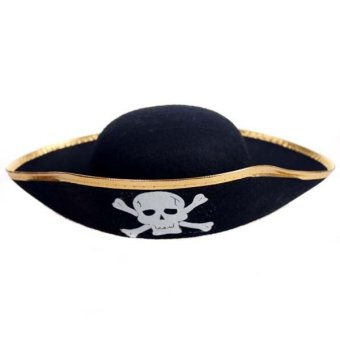 Harga Caribbean Pirate Hat Halloween Costume Party Dress Up (Golden edge) - intl