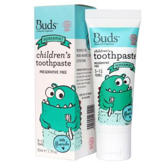 Harga Buds Oral Care Organics (For 3 to 12 Years Old) - Children's Toothpaste with Fluoride (Peppermint)