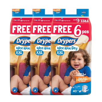 Harga Drypers Wee Wee Dry XXL 40s x 3 packs (15 kg & above) 120 pcs/box With Free 6 Pieces In Pack !