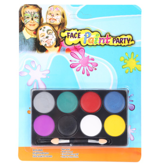 Harga 8 Color Environmental Protection Non-toxic Water Makeup Face Halloween Paint Color Devil Fans